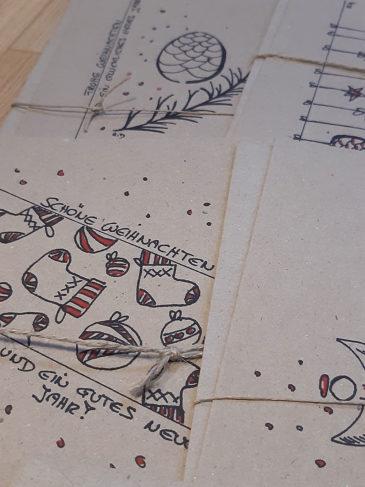 Handgezeichnete Weihnachtskarten